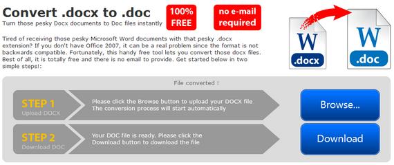 Он-лайн конвертер документов docx в doc